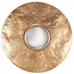 Miroir Lunaire Convexe Marque Signature Glace Ronde Murale Déco en Métal Doré 5x97x97cm