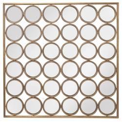 Miroir aux Alouettes Convexes Signature Cadre Mural Multi Glaces en Métal Doré 4x104x104cm