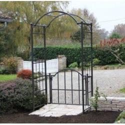 Arche Portillon Classic Garden Portail Arche à Rosiers de Jardin Extérieur en Fer Forgé Marron Martelé 71x120x228cm