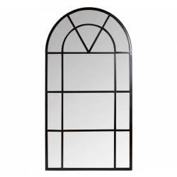Miroir Arrondi Signature Miroir Orangerie Glace Trumeau en Métal Noir 2,5x120x220cm