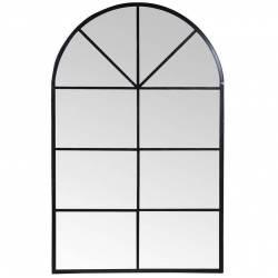 Miroir Arrondi Signature Miroir Orangerie Glace Trumeau en Métal Noir 2,5x140x220cm