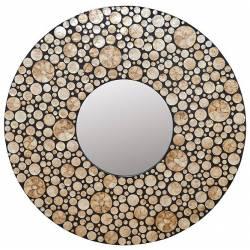 Miroir Dots Signature Glace Ronde Décoration Murale en Résine et Nacre 5x150x150cm