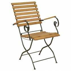 Chaise Pliable Fauteuil de Jardin Siège de Salon de Jardin en Bois et Acier Crème 56,8x64x90cm