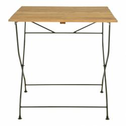 Table de Jardin Pliante Table de Repas Pliante en Bois et Acier Vert 77x78x78,4cm