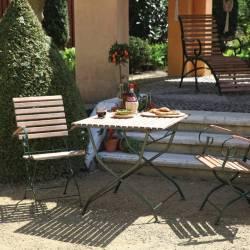 Salon de Jardin de Charme Pliable Table et Chaise de Repas Pliantes en Bois et Acier Vert