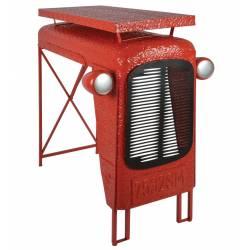 Table Tracteur Rouge Console Bar Modèle Calandre de Tracteur en Acier 67x100x104cm