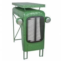 Table Tracteur Verte Console Bar Modèle Calandre de Tracteur en Acier 67x100x104cm
