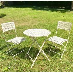 Salon de Jardin Auguste Table et Chaises de Jardin en Métal Blanc