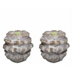 Set de 2 Pommes de Pin Artichaut Bougeoir en Terre Cuite 10x11x11cm