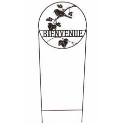 """Grille Treillis Tuteur à Fleurs Plantes Motif Oiseau et """"BIENVENUE"""" en Métal Patiné Marron 0,5x35x112cm"""