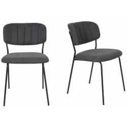 Lot de 2 Chaises Jolien No Name Assise de Table en Métal et Tissu Gris Foncé 49x56,5x79cm