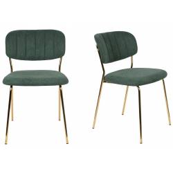 Lot de 2 Chaises Jolien Woody Siège de Table en Acier Couleur Or et Tissu Vert Foncé 49x56,5x79cm