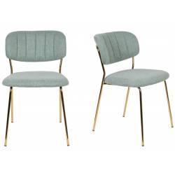 Lot de 2 Chaises Jolien Woody Siège de Table en Acier Couleur Or et Tissu Vert Clair 49x56,5x79cm