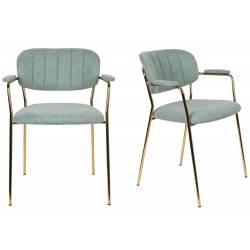 Lot de 2 Fauteuils de Table Jolien Marque Woody Chaises Sièges Assises de Séjour en Acier Or et Tissu Vert Clair 57x60,5x79cm