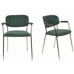 Lot de 2 Fauteuils de Table Jolien Marque Woody Chaises Sièges Assises de Séjour en Acier Or et Tissu Vert Foncé 57x60,5x79cm