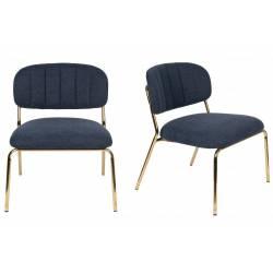 Ensemble de 2 Chaises Lounge Jolien Woody Sièges Bas Assises Fauteuils de Salon en Acier Or et Tissu Bleu Foncé 56x60x68cm