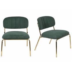 Ensemble de 2 Chaises Lounge Jolien Woody Sièges Bas Assises Fauteuils de Salon en Acier Or et Tissu Vert Foncé 56x60x68cm