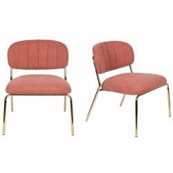 Ensemble de 2 Chaises Lounge Jolien Woody Sièges Bas Assises Fauteuils de Salon en Acier Or et Tissu Rose 56x60x68cm