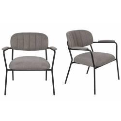 Lot de 2 Fauteuils Lounge Bras Jolien Woody Sièges Bas de Salon avec Accoudoirs en Acier Noir et Tissu Gris 61x69,5x73cm