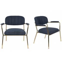 Lot de 2 Fauteuils Lounge Bras Jolien Woody Sièges Bas de Salon avec Accoudoirs en Acier Or et Tissu Bleu Foncé 61x69,5x73cm