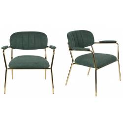 Lot de 2 Fauteuils Lounge Bras Jolien Woody Sièges Bas de Salon avec Accoudoirs en Acier Or et Tissu Vert Foncé 61x69,5x73cm