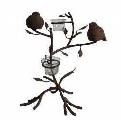 Bougeoir à Branches Façon Arbre ou Candélabre sur Pied Motif Oiseaux et Feuillages en Fer Patiné Marron 28x30,5x32cm