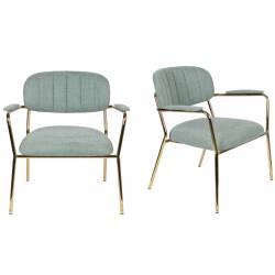 Lot de 2 Fauteuils Lounge Bras Jolien Woody Sièges Bas de Salon avec Accoudoirs en Acier Or et Tissu Vert Clair 61x69,5x73cm