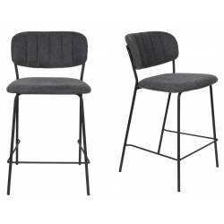 Tabouret de Comptoir Jolien Marque Woody Chaise de Bar Siège Haut en Acier Noir et Tissu Gris Foncé 48x54x89cm