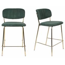 Tabouret de Comptoir Jolien Marque Woody Chaise de Bar Siège Haut en Acier Or et Tissu Vert Foncé 48x54x89cm