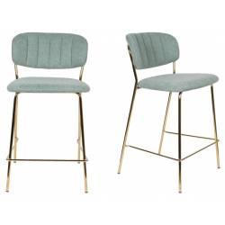 Tabouret de Comptoir Jolien Marque Woody Chaise de Bar Siège Haut en Acier Or et Tissu Vert Clair 48x54x89cm