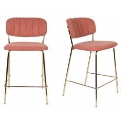 Tabouret de Comptoir Jolien Marque Woody Chaise de Bar Siège Haut en Acier Or et Tissu Rose 48x54x89cm