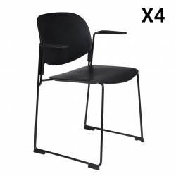 Lot de 4 Fauteuils Stacks Noirs Woody Sièges Assises Chaises Empilables Accoudoirs en Acier et Plastique 53x63,5x80,5cm