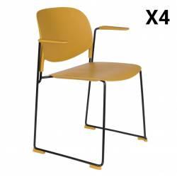 Lot de 4 Fauteuils Stacks Ocres Woody Sièges Assises Chaises Empilables Accoudoirs en Acier et Plastique 53x63,5x80,5cm