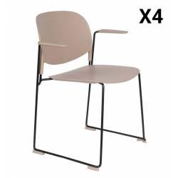 Lot de 4 Fauteuils Stacks Beiges Woody Sièges Assises Chaises Empilables Accoudoirs en Acier et Plastique 53x63,5x80,5cm