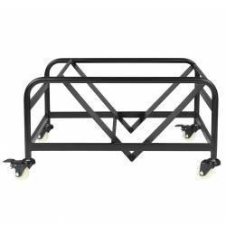 Chariot Porte 24 Chaises ou Fauteuils Stacks Woody en Acier Noir sur Roulettes 41x62,5x77,5cm