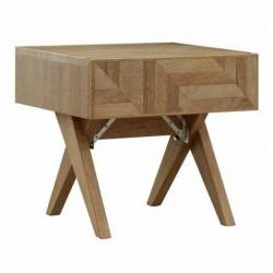 Chevet Kiruna 1 Tiroirs Athezza Table de Nuit Console en Bois Naturel 40x46x50cm