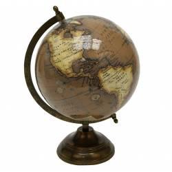 Mappemonde Globe Terrestre Décoratif Rotatif Planisphère sur Pied en Métal 20x22x30,5cm