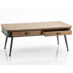 Table Basse Eugène Amadeus Table de Salon Console Basse en Bois et Métal 47x57x121cm