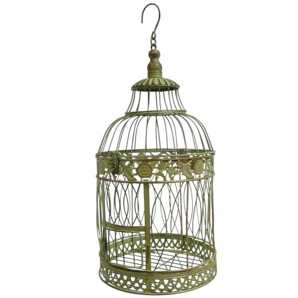 Grande Cage à Oiseaux Ronde à Poser ou Volière Décorative à Suspendre en Fer Patiné Vert 25x25x56cm
