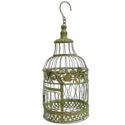 Petite Cage à Oiseaux Ronde à Poser ou Volière Décorative à Suspendre en Fer Patiné Vert 19x19x48cm