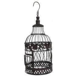 Petite Cage à Oiseaux Ronde à Poser ou Volière Décorative à Suspendre en Fer Patiné Marron 19x19x48cm