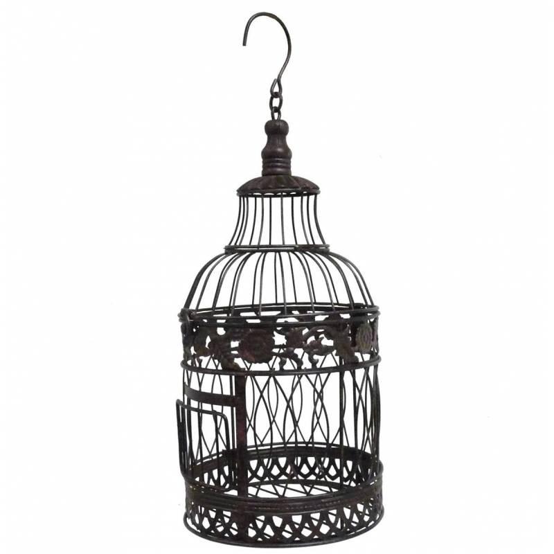 Petite cage oiseaux ronde poser ou voli re d corative for Petite cage a oiseaux decorative