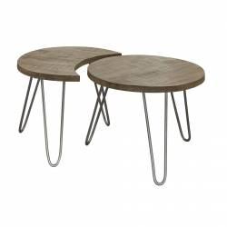 Table Basse Modulable Nest Motifs Marque Hanjel Consoles d'Appoint Bout de Canapé 4 Pièces en Manguier et Acier 39x59x165,5cm