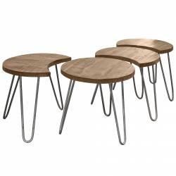 Table Basse Modulable Marque Hinsk Consoles d'Appoint Bout de Canapé 4 Pièces en Acier et Bois 45x50x149cm