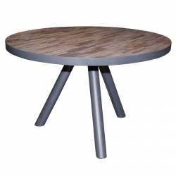 Table à Manger Ronde Hinsk Table de Repas Mobilier de Salle à Manger en Teck et Acier 76x120x120cm