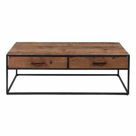 Table de Salon Float Hinsk Console Table de Basse avec 2 Tiroirs en Acier et Bois Ancien 40x60x120cm