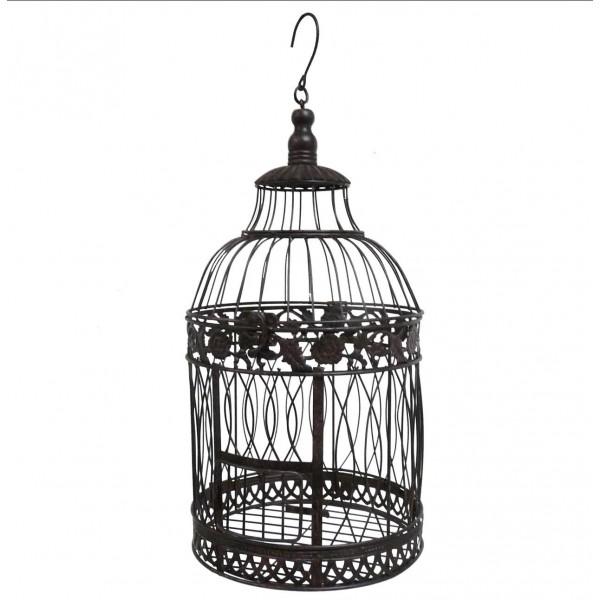Grande Cage à Oiseaux Ronde à Poser ou Volière Décorative à Suspendre en Fer Patiné Marron 25x25x56cm