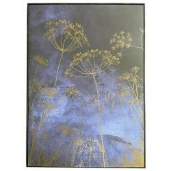 Tableau Plantes Nuit Athezza Toile Décoration Murale Teinte Bleue 4,3x100x140cm