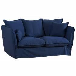 Canapé Tinos 2 Places Bleu Athezza Fauteuil Sofa de Salon Déhoussable en Bois et Tissus Lin 77x105x174cm