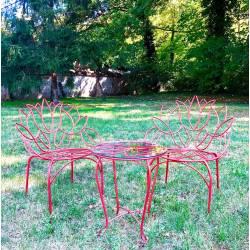 Salon Tulipe By HDT Ensemble de Jardin 2 Personnes 1 Table 2 Chaises en Métal Rouge